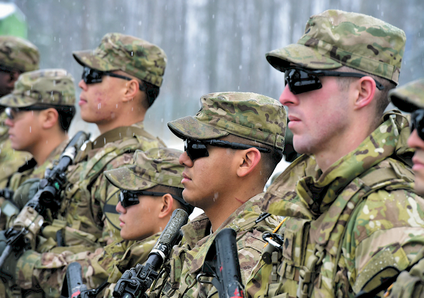 ROCK-SOLID DEFENSE: The U.S. troops, which, since the start of the Russian military actions in Ukraine, were deployed for a 'long-term exercise' in the Baltics, greeted Dalia Grybauskaite and Jens Stoltenberg in Karmelava.