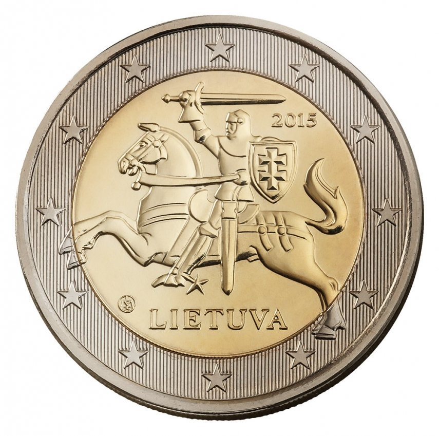 A one-euro coin with Lithuania's coat of arms