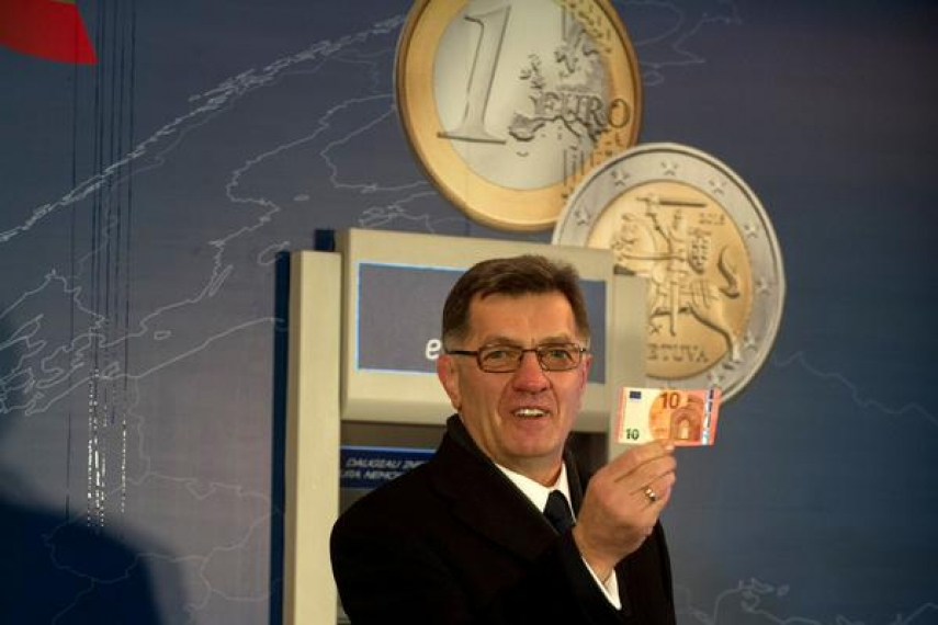 Algirdas Butkevicius, Prime Minister of Lithuania, at the ceremony to mark the country's adoption of the euro in Vilnius