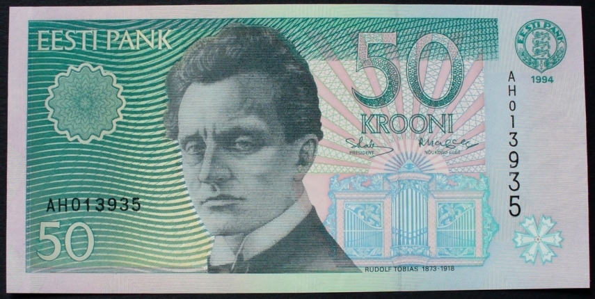 A 50-kroon note, featuring the image of Estonian composer Rudolf Tobias [Photo: Vaba Meedia]