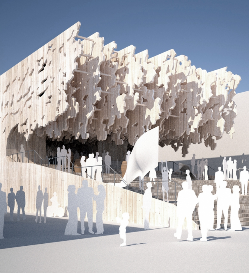 A model of Latvia's proposed pavilion for Expo 2015 in Milan [Image: fold.lv]