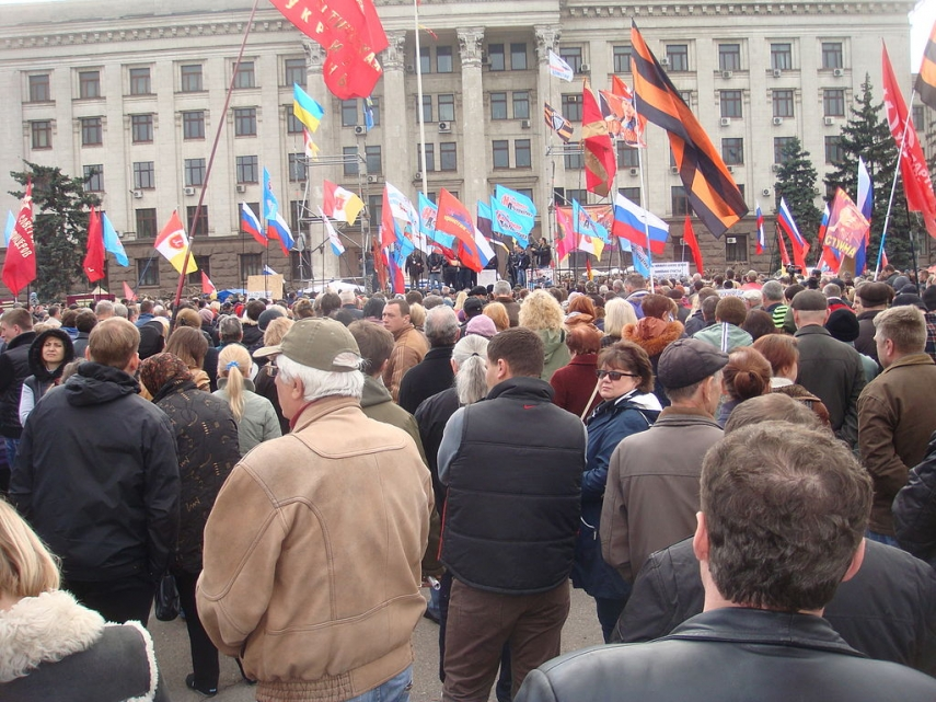 A pro-Russian demonstrator in Odessa last year [Image: Creative Commons[