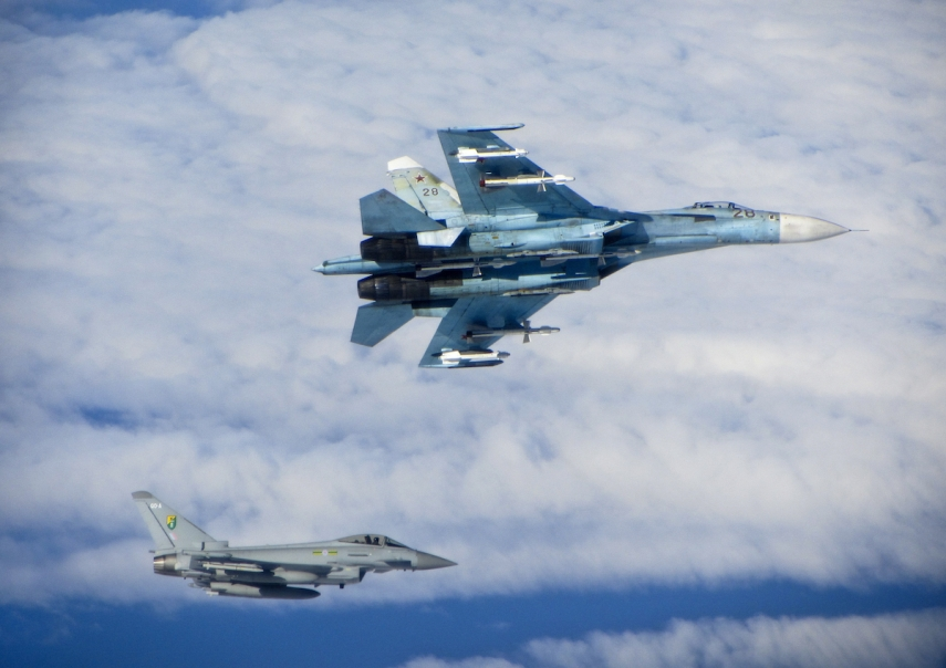 A Typhoon from the Royal Air Force (left) escorts a Russian air force Sukhoi SU-27 over the Baltic Sea [Image: wiki commons]