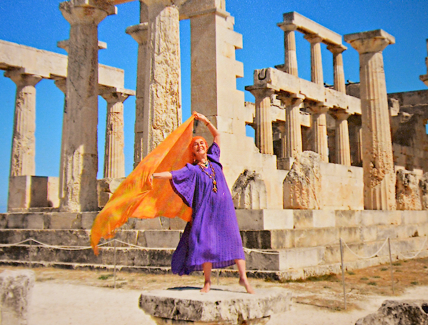 DANCING QUEEN: Vija Vetra shows her flair at an Aegean temple she has declared her own.