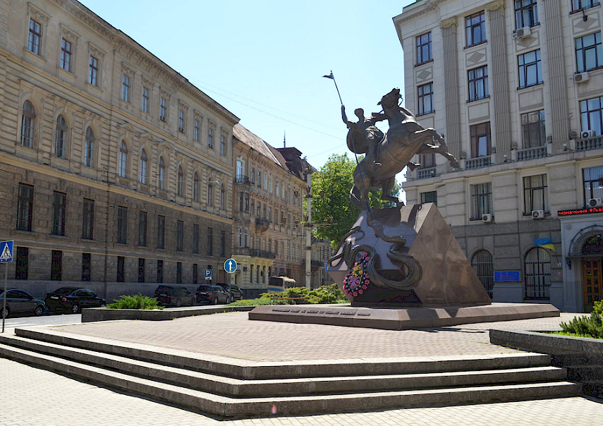 DRAGON SLAYING: Lviv's Statue of St George. Defiant heroism is a proud tradition in Lviv.