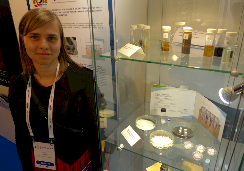 OUT OF THE LAB: Riga Technical University Research Assistant Brigita Dalecka with some of the nano­materials and technologies produced by RTU researchers.