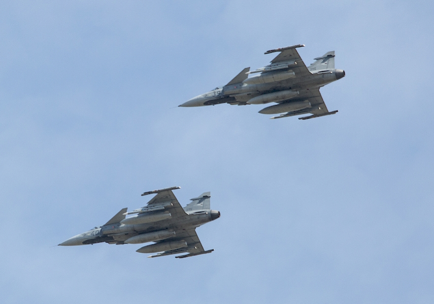 HUNGARIAN LEADERSHIP: The Hungarian Airforce has contributed 4 JAS-39 Gripen fighter jets like these for the latest NATO rotation of Baltic air policing.