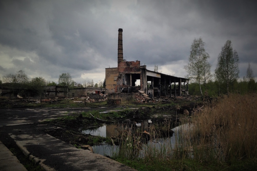 Abandoned factory and boiler house - much of the brickwork and piping was reclaimed from here and other technical facilities before the road entrances were blocked