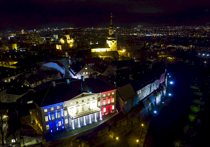 TRICOLORE: Stenbock House, Estonia's main government building, lit up the Tallinn skyline over the weekend with the red, white, and blue of the French flag - a show of condolence and solidarity after the terrorist attacks in Paris on Friday.