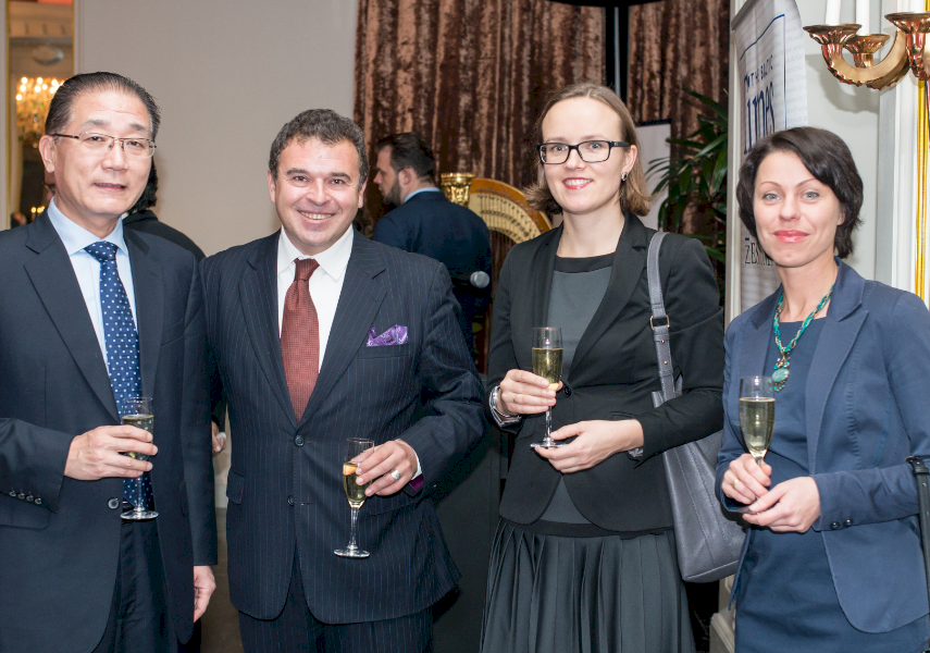 GLAMOROUS GALA: (from left to right) Ambassador of the People`s Republic of China H.E. Mr Huang Yong, Publisher of The Baltic Times Gene Zolotarev, Zanda Sandre, and Liga Bite from Lattelecom.