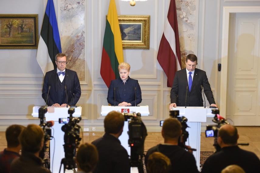 Estonian President Toomas Hendrik Ilves (left), Lithuanian President Dalia Grybauskaite (centre), Latvian President Rajmonds Vejonis (right) [Image: LRP.lt]