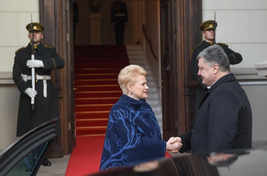 Grybauskaite (left) greets Poroshenko (right) in Vilnius [Image: LRP.lt]