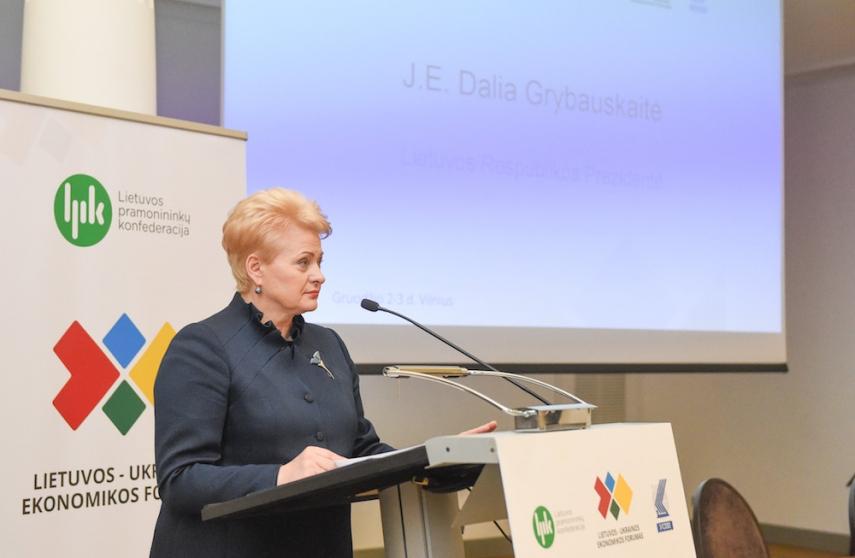 President Dalia Grybauskaite at the opening of the Lithuania-Ukraine business forum [Image: LRP.lt]