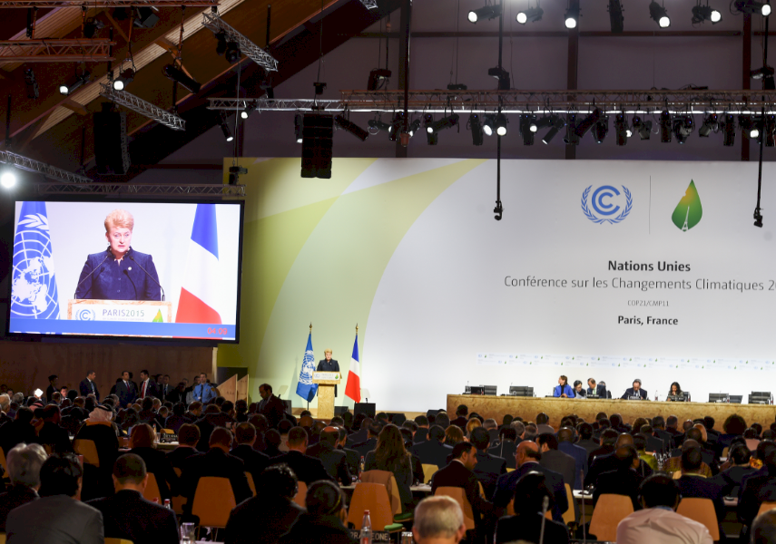 CHANGING PERCEPTIONS: President Dalia Grybauskaite speaking at the UN Climate Change Conference, COP21, in Paris