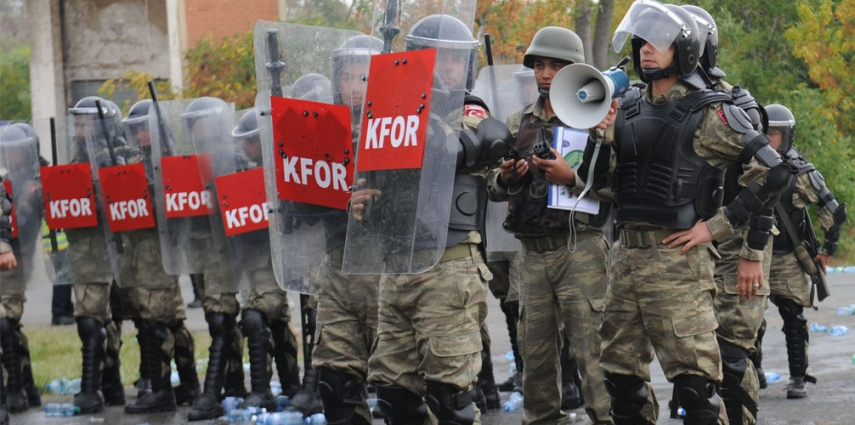 Turkish KFOR soldiers in riot training