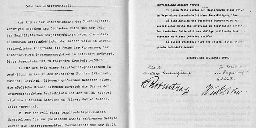 The secret appendix to the Molotov-Ribbentrop Pact naming the German and Soviet spheres of interest