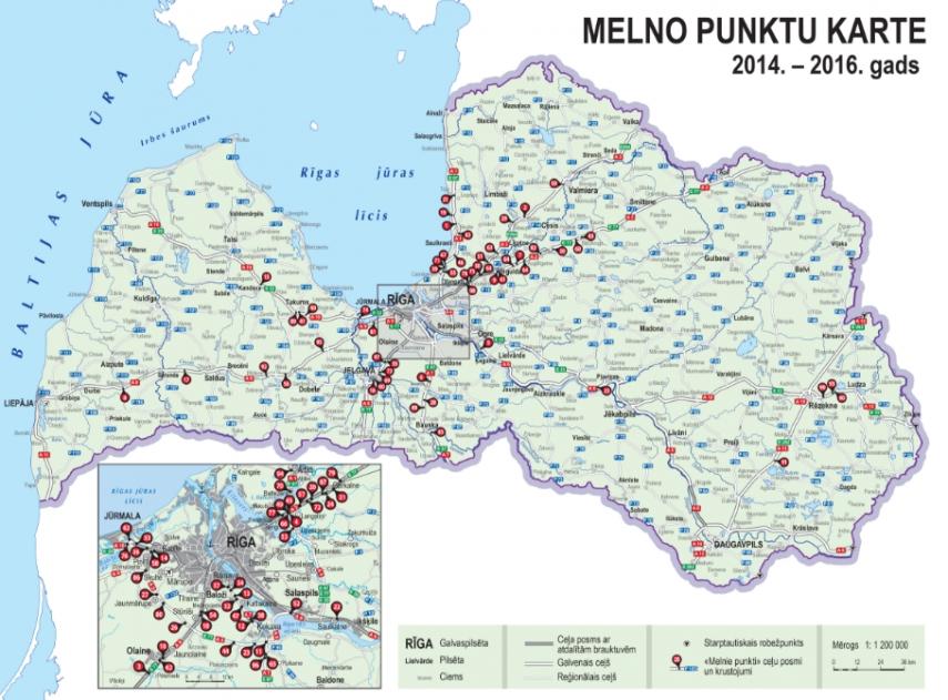 Latvijas Valsts Celi releases latest version of Latvias map of