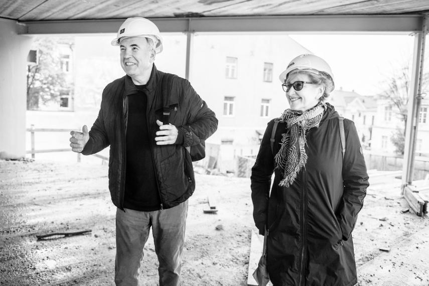 Viktoras Butkus and Danguole Butkiene on the construction site of their 15 million euro, 3,100 square-metre, Daniel Libeskind-designed, MO Museum in Vilnius.