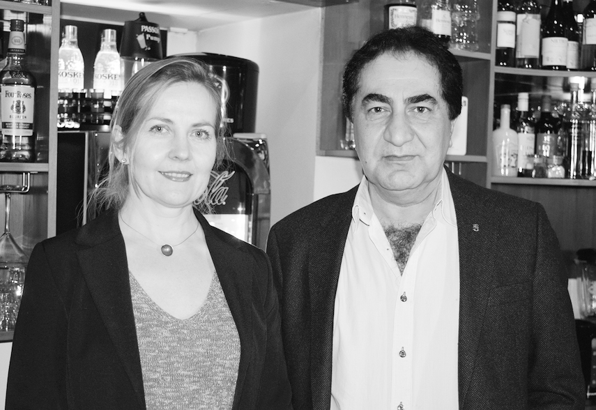Hewa Karim, the owner of Karjala Bar and AKA Restaurant in Riga's Old Town, with his wife Jana