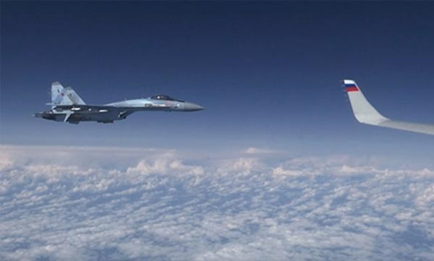 Russia's jet fighters drive NATO fighters away from Russian defmin's plane over Baltic Sea