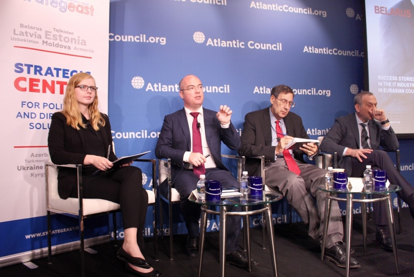 "Anatoly Motkin, StrategEast President; Arkady Dobkin, CEO and President of EPAM Systems, and Amb. John Herbst, Atlantic Council Eurasia Center Director speaking at the panel ""Post-Soviet Transformations: Opportunities for Growth Through the IT Sector"" at the Atlantic Council in Washington, D.C."