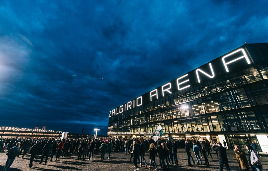 The survey shows Zalgirio Arena as the leader in the Baltic region